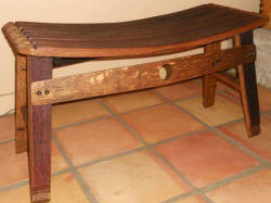 Wine Barrel Chairs - Wine Barrel Stave Harvest Bench