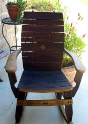 Wine Barrel Chairs - Wine Barrel Chairs - Wine Barrel Stave Rocking Chair